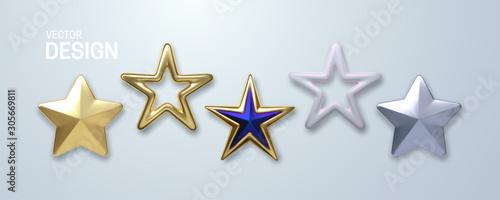 Obraz Decorative stars set isolated on white background. Vector 3d illustration. Golden geometric star shapes. Christmas holiday decoration elements - fototapety do salonu