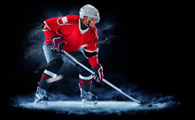Ice Hockey Player Isolated On ...