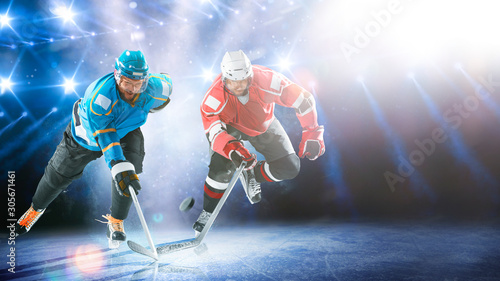 Professional hockey players in action on grand arena Canvas Print