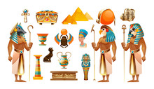 Egypt Old Symbols, Sacred Animals, Pyramid, Tomb, Sarcophagus, Cross Vector