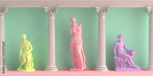 Photo 3d-illustration of interior with antique statues Discobolus, Venus, nymph