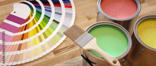 Paint shop banner. Composition with brushes, color chart and paint containers.