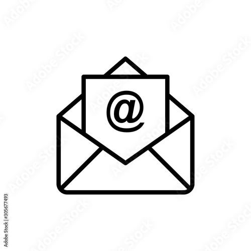 Photo Email Vector Line Icons of Network and Communication