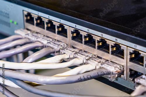 Computer data transmission cables connected to switching equipment Tapéta, Fotótapéta