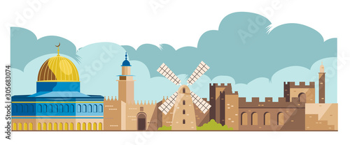 Leinwand Poster israel, jerusalem architecture skyline vector
