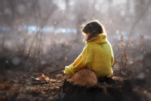 Little Girl In Yellow Pullover...