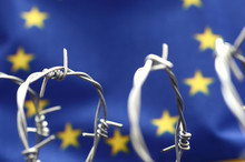 European Union Flag And Barbed Wire, Migration To European Union Concept