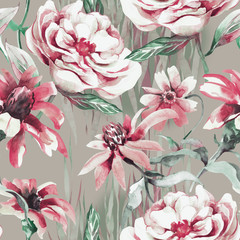 Panel Szklany Podświetlane Peonie Summer Flowers Seamless Pattern. Watercolor Illustration.