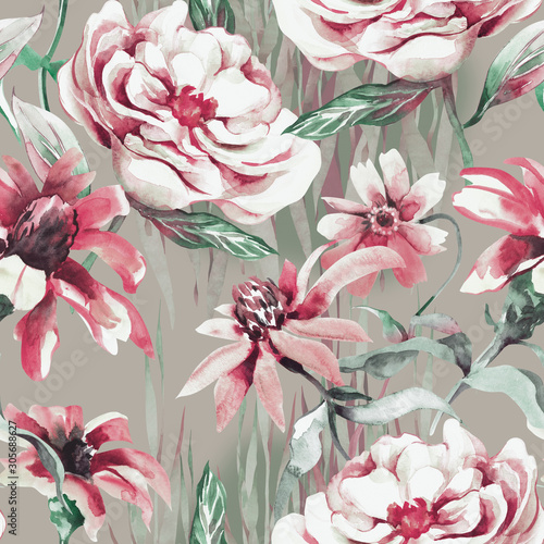 summer-flowers-seamless-pattern-watercolor-illustration