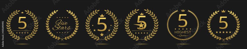 Fototapeta Five star badge set