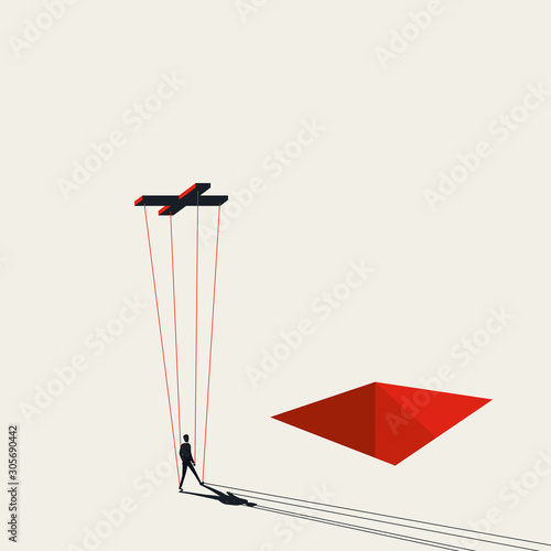Stampa su Tela Businessman controlled as puppet on strings vector concept