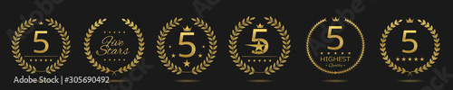 Fotografiet Five star badge set