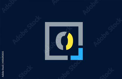 Fotografía  blue yellow letter O alphabet logo design icon for business