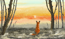 Winter Forest With Sunset And Fox. The Fox Sits In The Winter Forest And Looks At The Sunset. Illustration Painting.