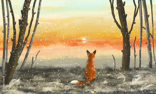 Winter forest with sunset and fox Canvas Print
