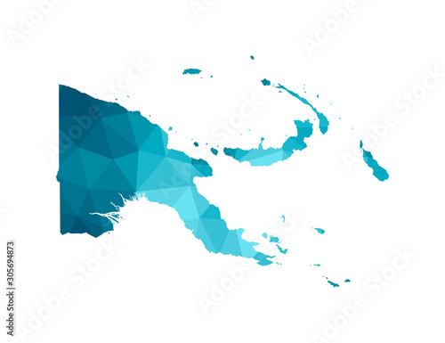 Photo Vector isolated illustration icon with simplified blue silhouette of Papua New Guinea map