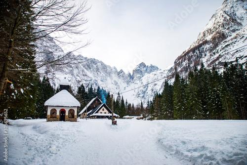 Fototapeta Snowy Tamar valley in Slovenia obraz