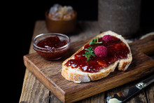 Toasted Bread With Sweet Raspb...