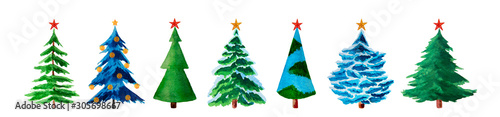 Fotomural  Watercolor fir trees with christmas stars isolated on white.