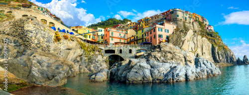 View of Manarola town on rocky coast at famous Cinque Terre National Park Tableau sur Toile