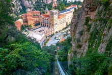 Funicular Railway With View Of  Monastery Santa Maria De Montserrat. Catalonia, Spain