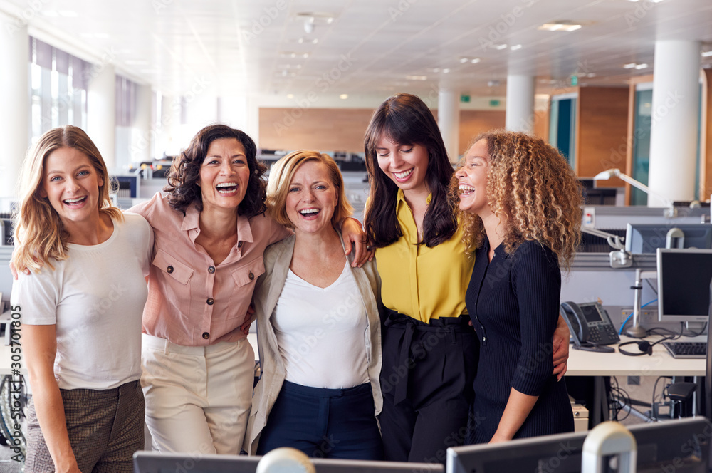 Fototapeta Portrait Of Smiling Female Business Team Working In Modern Office Together