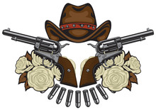 Vector Banner With Two Big Old Revolvers, Brown Cowboy Hat, Bullets And White Roses Isolated On White Background. Design Elements For Logo, Label, Sign, T-shirt Design, Tattoo
