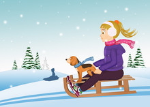 Little Girl On Sleigh With Puppy