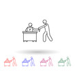 Worker in contact with client multi color icon. Simple thin line, outline vector of people in the work icons for ui and ux, website or mobile application
