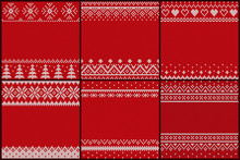 Set Of Embroidered Pattern Vector. Christmas Theme Empty Banners With Ornaments, Decor For Xmas. Pine And Geometric Shapes. Hearts And Decorative Elements On Blank Cards Flat Style Illustration