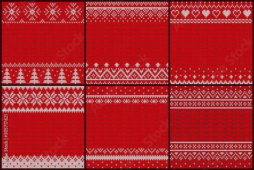 Photo Set of embroidered pattern vector
