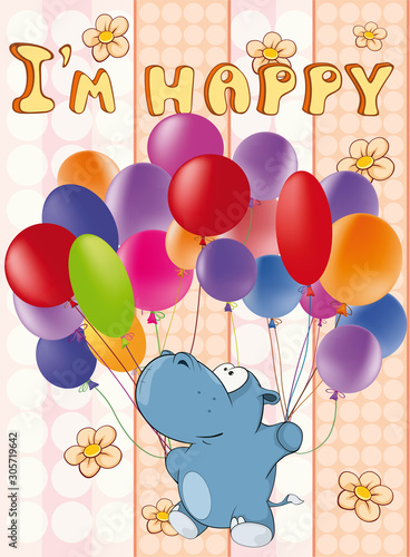 Happy Birthday Card Cute Cartoon Character Hippo . Vector Greeting Card. Happy Moment. Congratulation