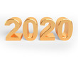 Holiday of golden metallic numbers 2020. Realistic 3d sign.