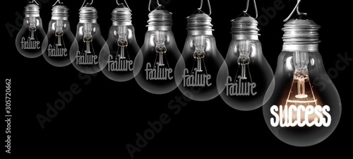 Light Bulbs with Failure and Success Concept Wallpaper Mural