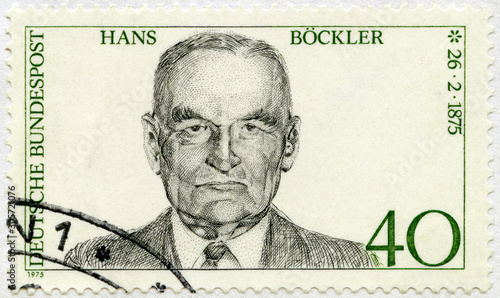 GERMANY - 1975: shows Hans Bockler (1875-1951), 1975 Canvas Print