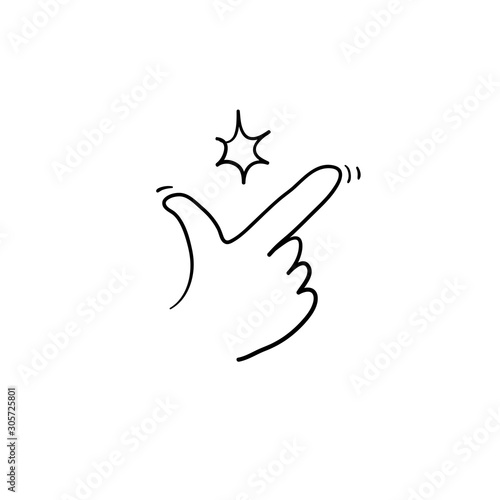 Fototapeta doodle snap finger like easy logo. concept of female or male make flicking fingers and popular gesturing. linear abstract trend simple okey logotype graphic design isolated hand drawn style obraz