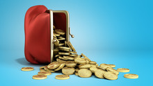 Red Wallet With Gold Money Coins 3d Render On Blue Gradient Background