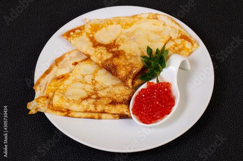 Pancake with red caviar Canvas Print