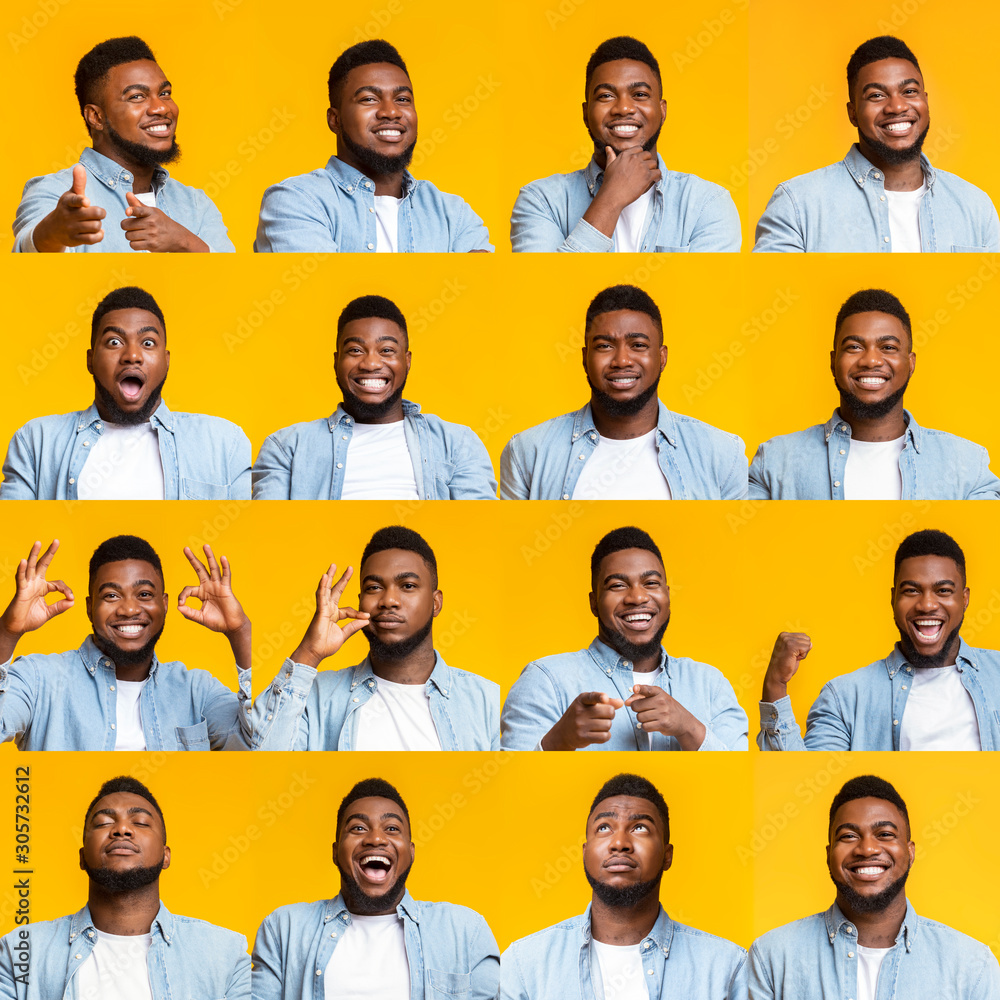 Fototapeta Collage of handsome black guy portraits with different emotions and gestures