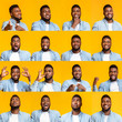 Collage of handsome black guy portraits with different emotions and gestures