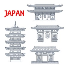 Japanese Travel Landmark Vecto...
