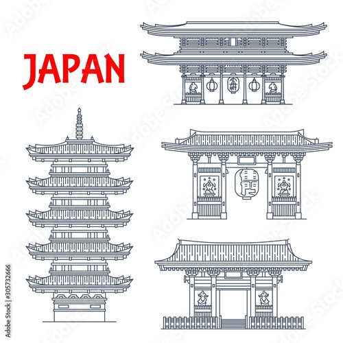 Photo Japanese travel landmark vector icons with Buddhism religion architecture