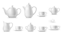 Tea Or Coffee Set With 3d Vect...
