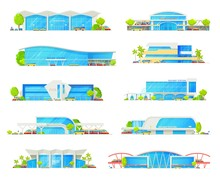 Railway Station Building Vector Icons With Trains, Track Platforms And Rail Bridge. Railroad Transport Passenger Terminals And Depot With Locomotives, Bus And Tram Stations, Car Parking Lots