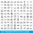 100 transportation icons set. Outline illustration of 100 transportation icons vector set isolated on white background