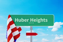 Huber Heights – Ohio. Road Or Town Sign. Flag Of The United States. Blue Sky. Red Arrow Shows The Direction In The City. 3d Rendering