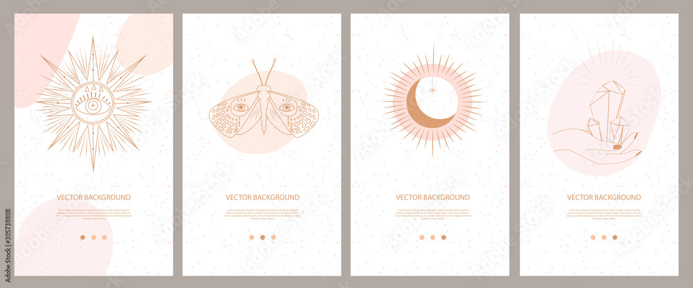 Fototapeta Collection of mystical and mysterious illustrations for Mobile App, Landing page, Web design in hand drawn style. Space and astrology concept. Minimalistic objects made in the style of one line.