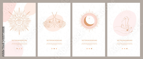 Fototapeta Collection of mystical and mysterious illustrations for Mobile App, Landing page, Web design in hand drawn style. Space and astrology concept. Minimalistic objects made in the style of one line. obraz