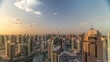 Dubai Marina skyscrapers and jumeirah lake towers sunrise view from the top aerial timelapse in the United Arab Emirates.