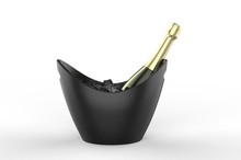 Blank Boat Shaped Ice Bucket For Promotional Branding. 3d Render Illustration.